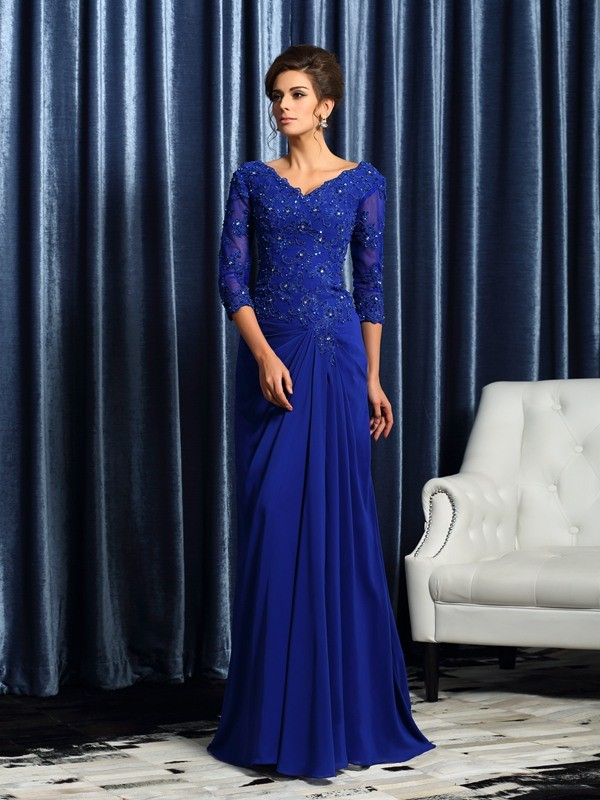 A-Line/Princess V-neck 3/4 Sleeves With Applique Long Chiffon Mother of the Bride Dresses