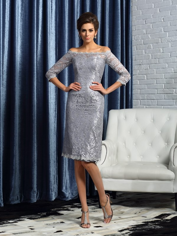 Off-the-Shoulder Sheath/Column Satin Lace 1/2 Sleeves Short Mother of the Bride Dresses