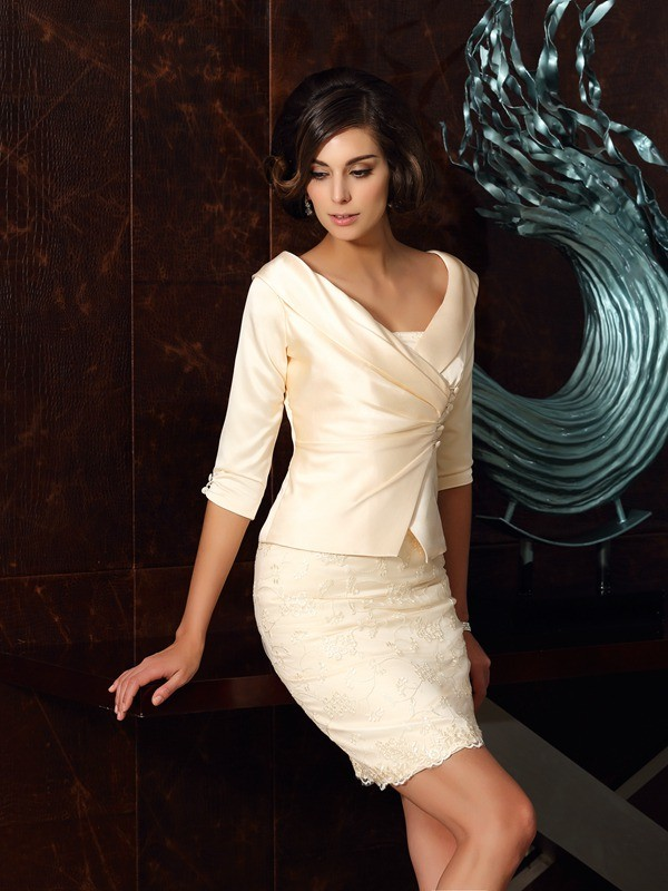Sheath/Column Satin Strapless With Applique Sleeveless Short Mother of the Bride Dresses