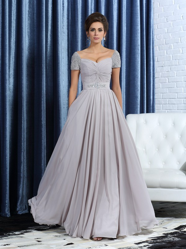 A-Line/Princess Sweetheart Short Sleeves With Beading Long Chiffon Mother of the Bride Dresses