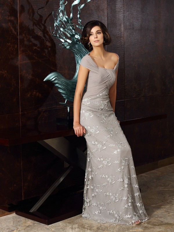 Perfect Off-the-Shoulder A-Line/Princess Sleeveless Long Chiffon Mother of the Bride Dresses With Applique