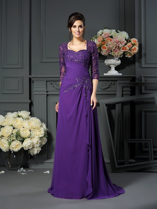 Fabulous A-Line/Princess Sweetheart 1/2 Sleeves With Applique Long Chiffon Mother of the Bride Dresses