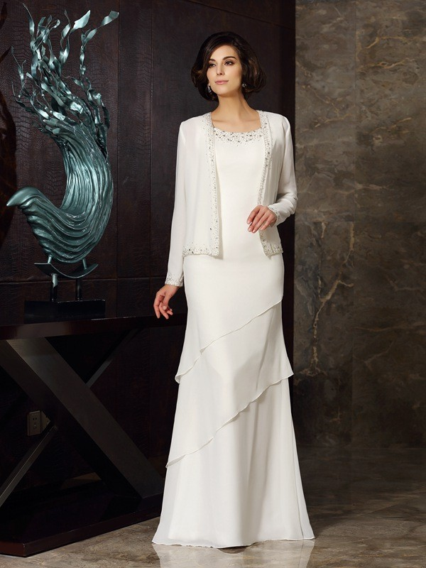 Sheath/Column Scoop With Beading Sleeveless Long Chiffon Mother of the Bride Dresses