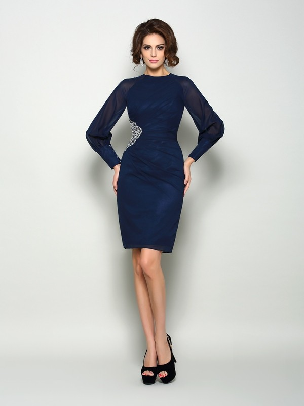 Sheath/Column High Neck Chiffon With Beading Long Sleeves Short Mother of the Bride Dresses