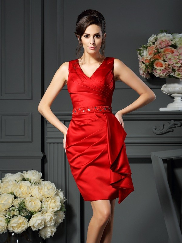 Sheath/Column V-neck Sleeveless Satin With Ruched Short Mother of the Bride Dresses