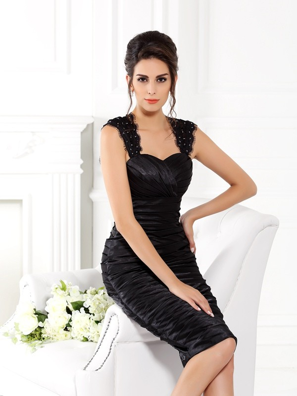 Sheath/Column Taffeta Straps Sleeveless Short Mother of the Bride Dresses