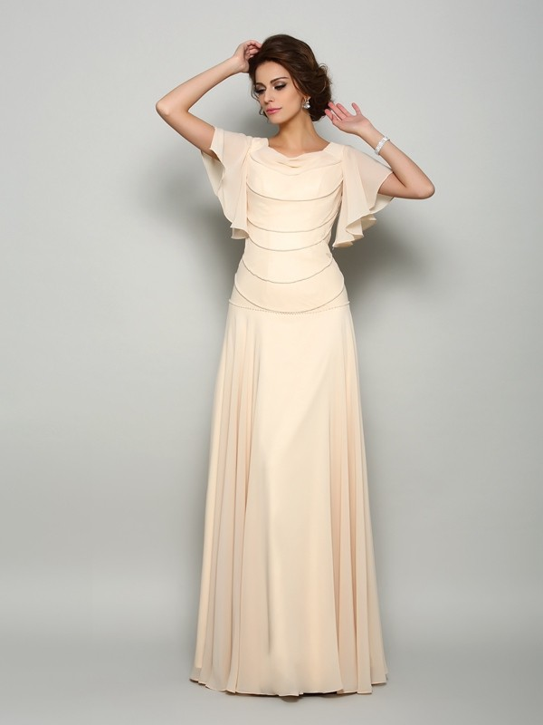 A-Line/Princess Square Short Sleeves Long Chiffon Mother of the Bride Dresses With Beading