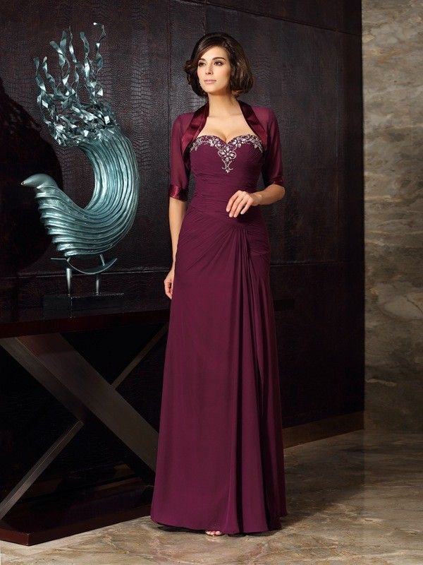 Sheath/Column Sweetheart Chiffon Sleeveless Long Mother of the Bride Dresses With Beading