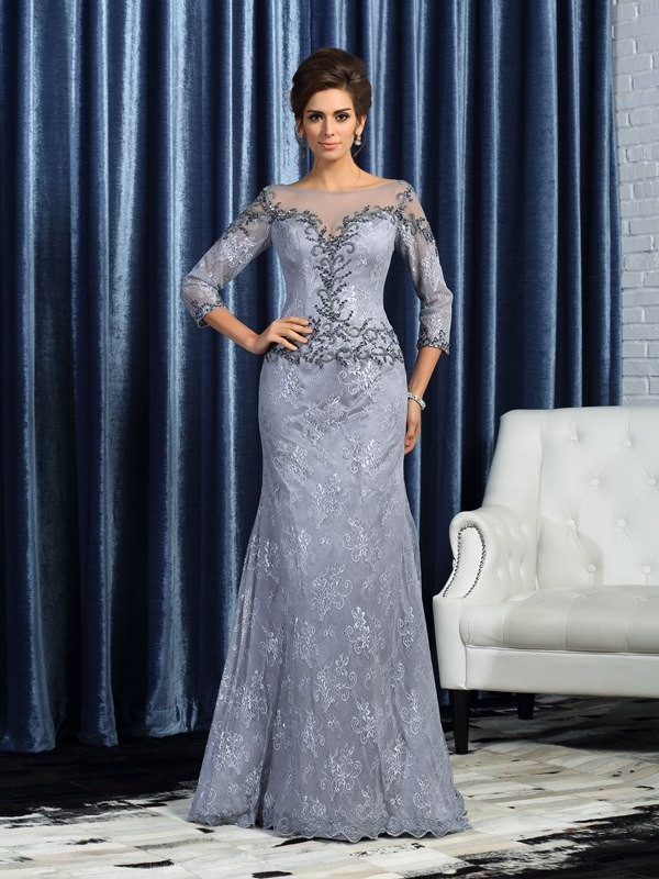 Trumpet/Mermaid Bateau 3/4 Sleeves With Beading Lace Long Mother of the Bride Dresses