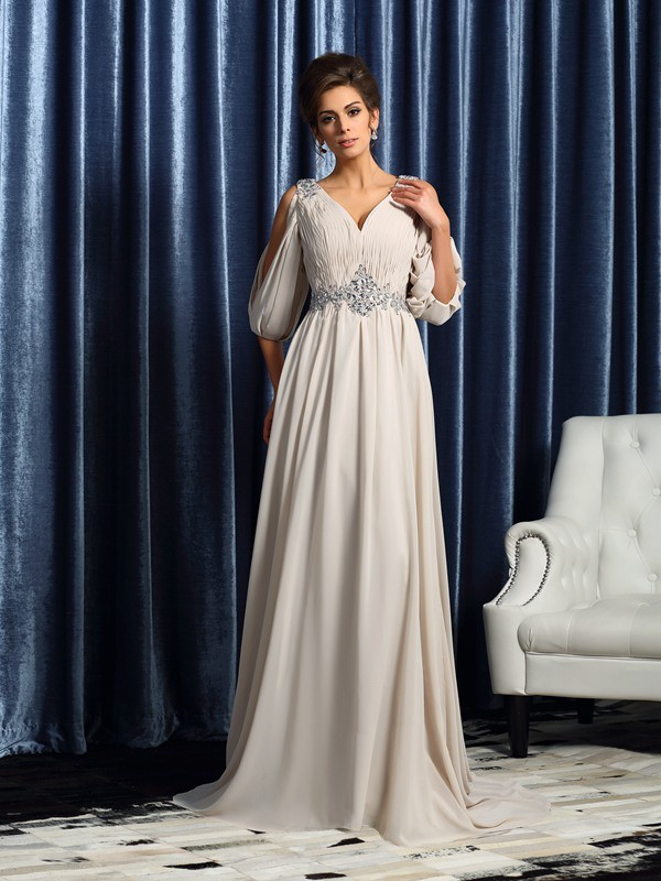 Stylish A-Line/Princess V-neck 1/2 Sleeves With Beading Chiffon Long Mother of the Bride Dresses