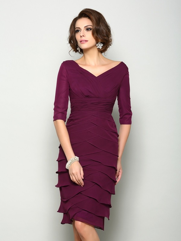 Sheath/Column Chiffon V-neck 1/2 Sleeves Knee-Length Mother of the Bride Dresses
