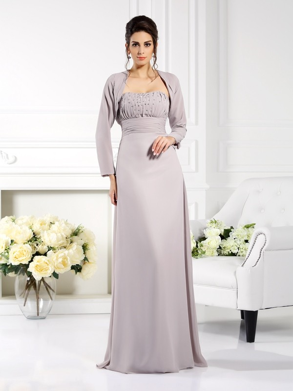 A-Line/Princess Strapless Sleeveless With Beading Long Chiffon Mother of the Bride Dresses