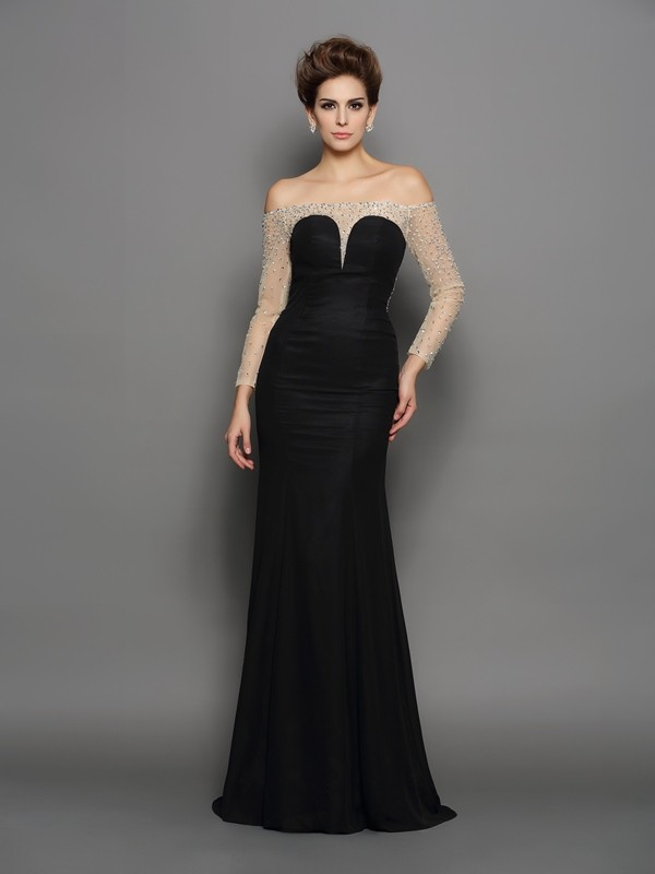 Trumpet/Mermaid Chiffon Off-the-Shoulder With Beading Long Sleeves Long Dresses