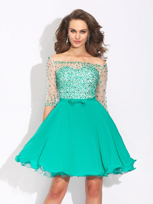Off-the-Shoulder A-Line/Princess 1/2 Sleeves Short Chiffon Dresses With Beading