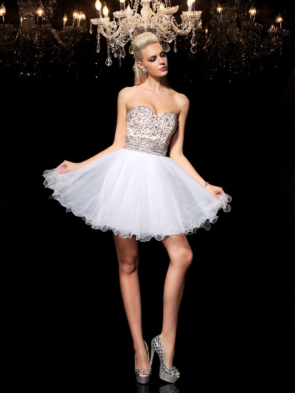 A-Line/Princess Sweetheart Sleeveless With Beading Short Net Cocktail Dresses
