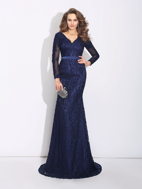 Flawless Sheath/Column V-neck Sweep/Brush Train Long Sleeves Lace Dresses