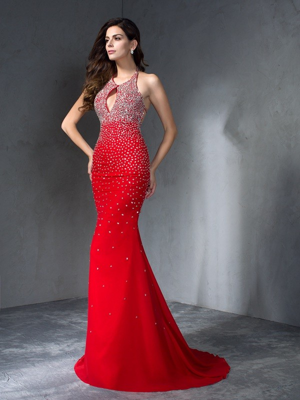 Trumpet/Mermaid Halter Sleeveless Long Chiffon Dresses With Beading