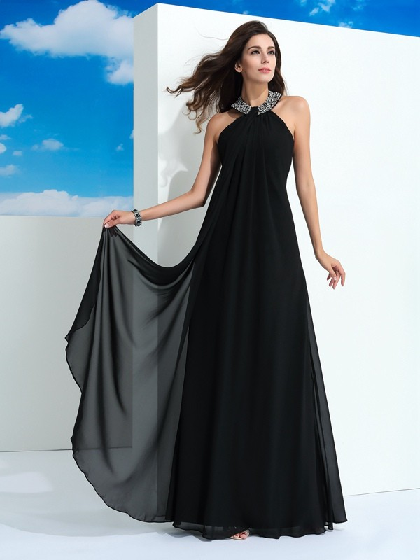 A-Line/Princess Halter Sleeveless Chiffon Long Dresses With Beading