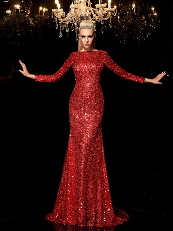 Sheath/Column Scoop Sequin Long Sleeves Long Dresses With Sequins