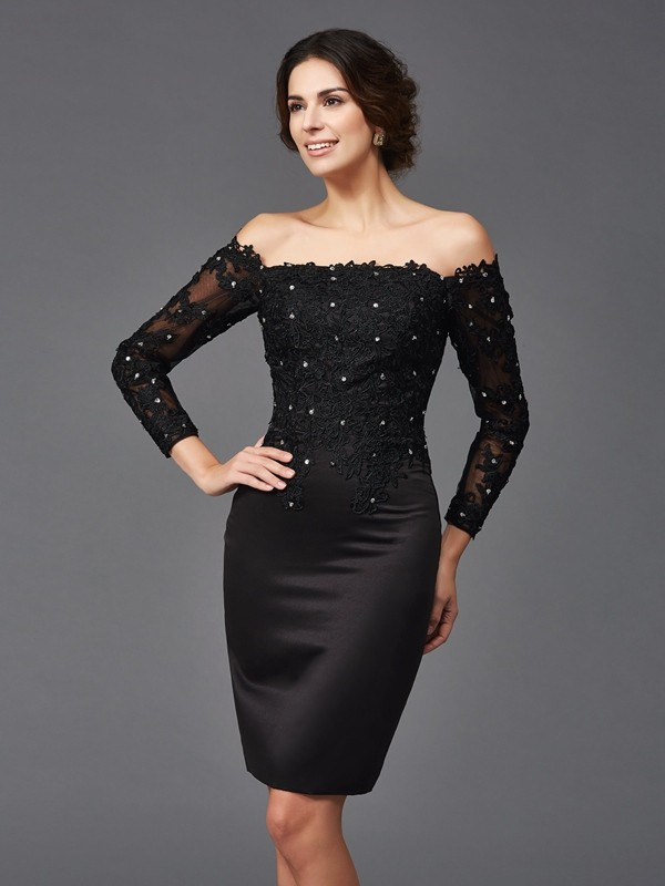 Off-the-Shoulder Sheath/Column Lace Long Sleeves Short Satin Mother of the Bride Dresses
