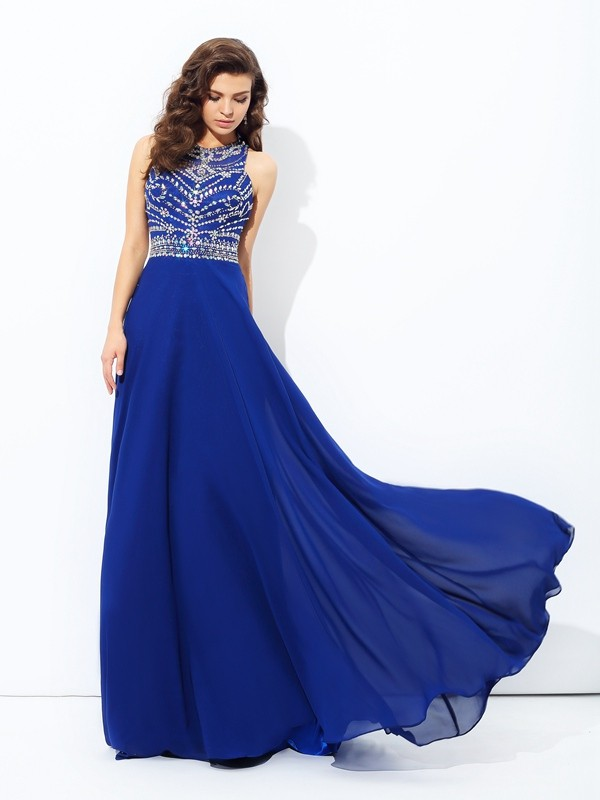Flawless A-line/Princess Scoop Sleeveless With Beading Long Chiffon Dresses