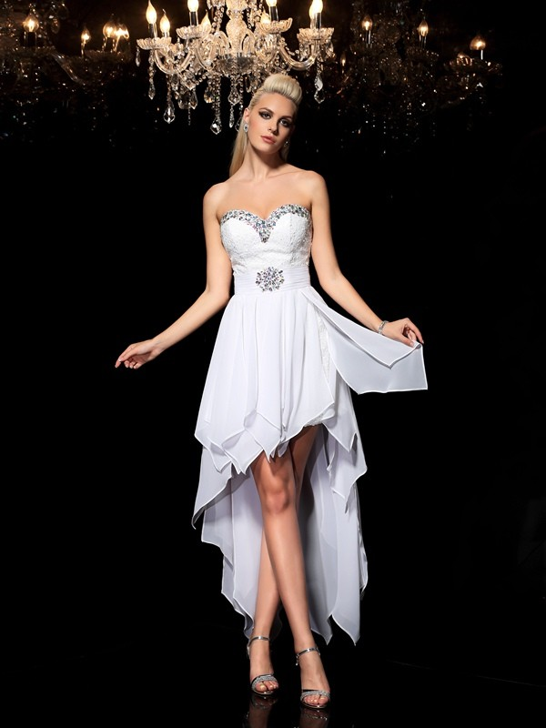 Sweetheart A-Line/Princess Sleeveless High Low Chiffon Dresses With Beading