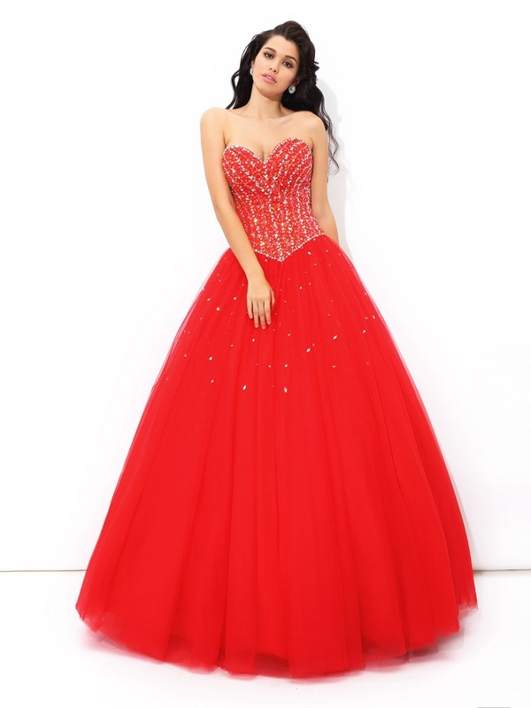Shining Ball Gown Sweetheart Sleeveless Long Net Quinceanera Dresses With Beading