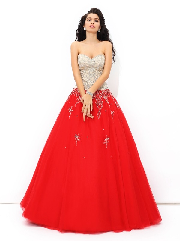 Sweetheart Ball Gown Sleeveless Long Satin Quinceanera Dresses With Beading