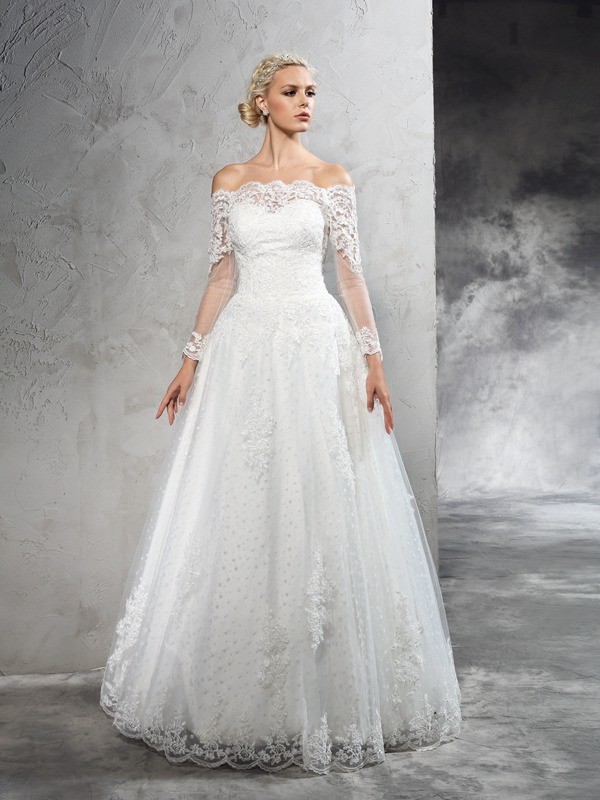 Off-the-Shoulder Ball Gown Floor-Length Lace Long Sleeves Net Wedding Dresses