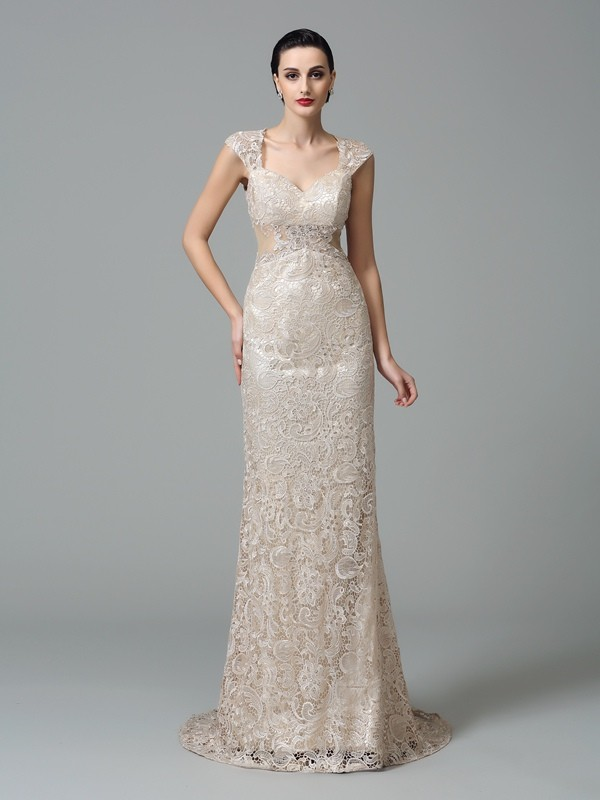 Sheath/Column Straps Sleeveless Lace Sweep/Brush Train Dresses