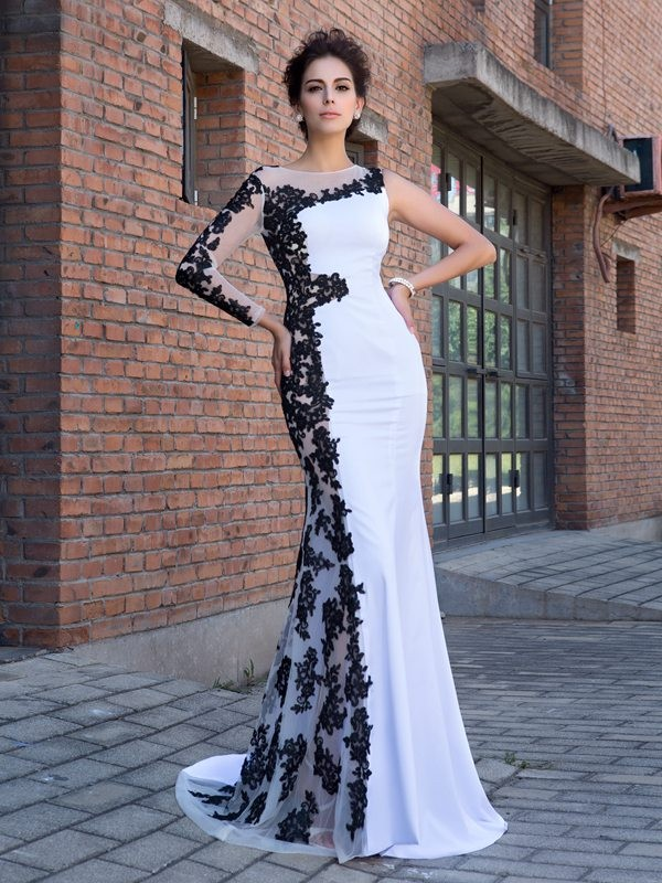 Trumpet/Mermaid Scoop Long Sleeves Long Chiffon Dresses With Applique