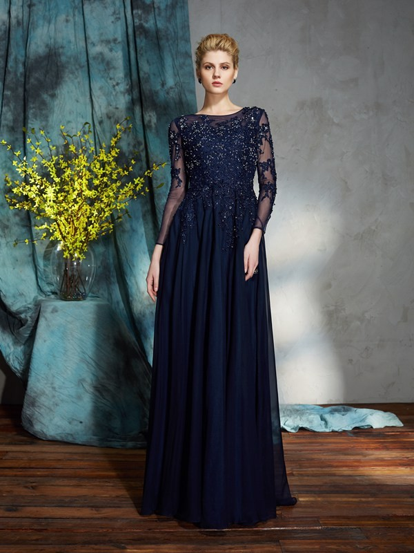 A-Line/Princess Scoop 3/4 Sleeves Long Chiffon Mother of the Bride Dresses With Applique