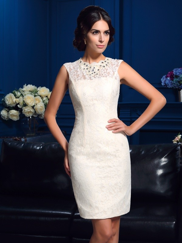Sheath/Column Jewel Lace Sleeveless Lace Short/Mini Mother of the Bride Dresses