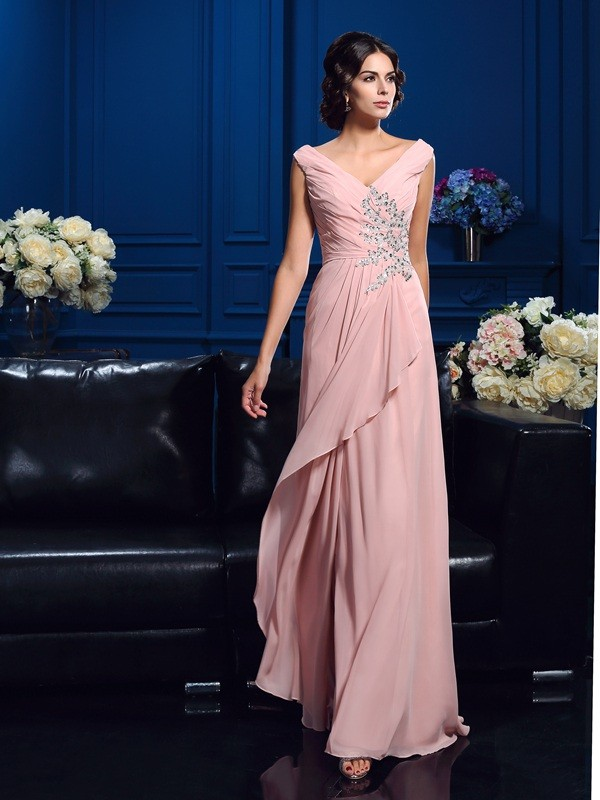 A-Line/Princess V-neck Sleeveless Chiffon Sweep/Brush Train Mother of the Bride Dresses With Beading