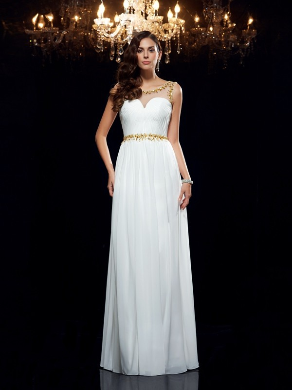 A-Line/Princess Sheer Neck Sleeveless Long Chiffon Dresses With Beading