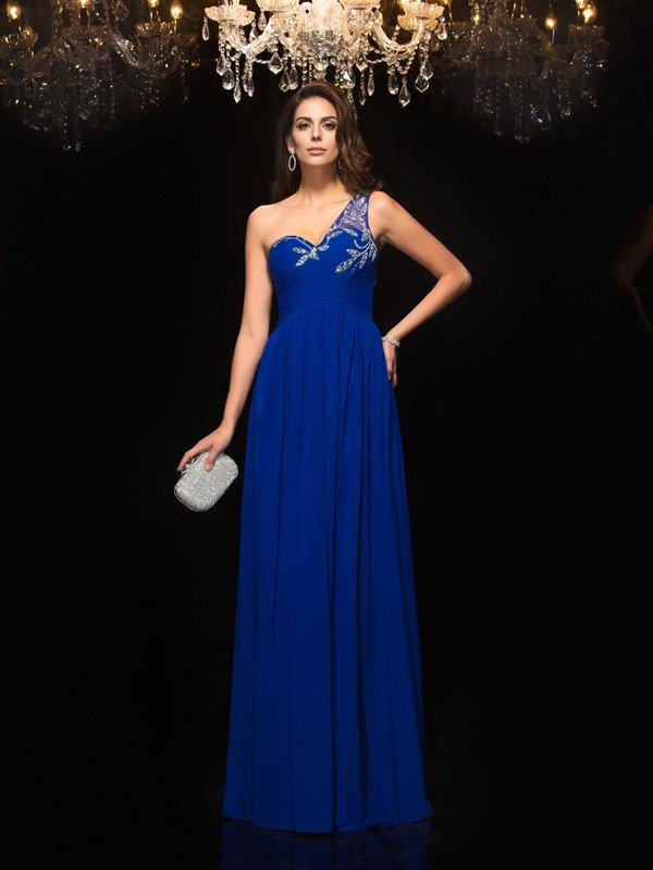 A-Line/Princess One-Shoulder Sleeveless Long Chiffon Dresses With Beading