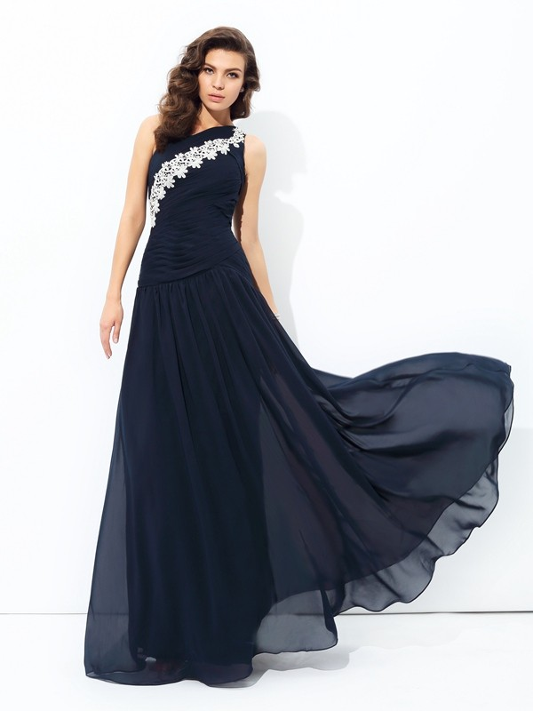 One-Shoulder A-line/Princess Sleeveless Long Chiffon Dresses With Applique