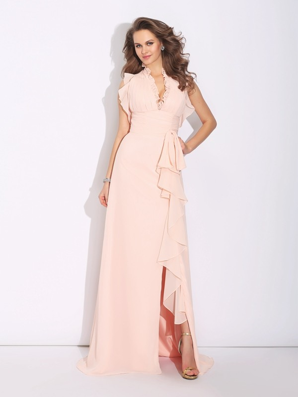 A-Line/Princess High Neck Sleeveless Long Chiffon Dresses With Ruffles