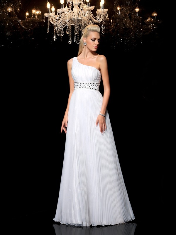 A-Line/Princess One-Shoulder Sleeveless Long Organza Dresses With Beading