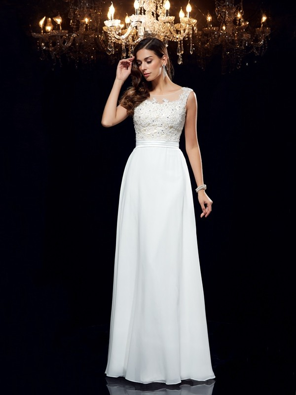 A-Line/Princess Scoop Sleeveless Long Chiffon Dresses With Applique