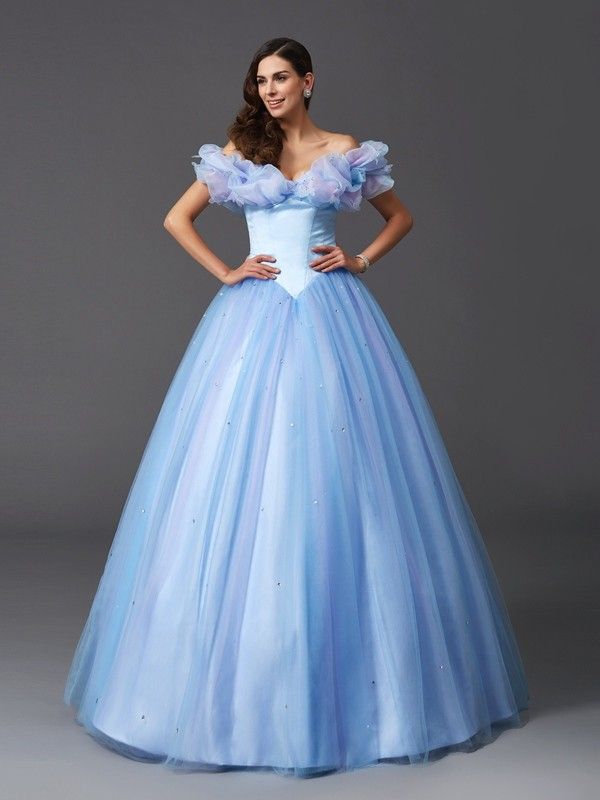 Ball Gown Off-the-Shoulder Sleeveless Long Net Quinceanera Dresses With Beading