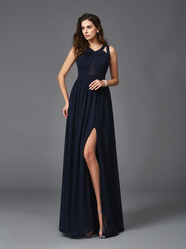 Sexy A-Line/Princess Straps Sleeveless Floor-Length Chiffon Dresses