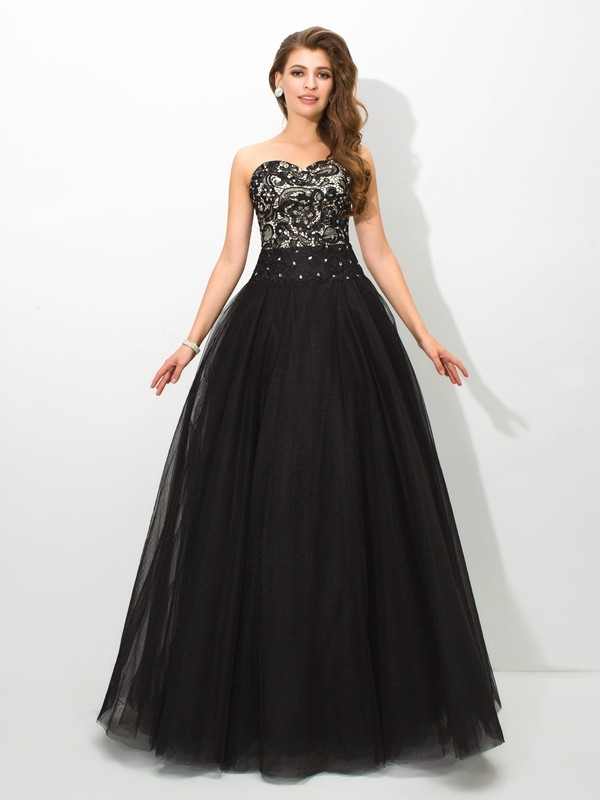 Ball Gown Sweetheart Lace Sleeveless Floor-Length Net Quinceanera Dresses