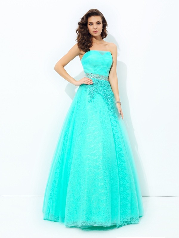 A-line/Princess Strapless Sleeveless Long Elastic Woven Satin Dresses With Beading