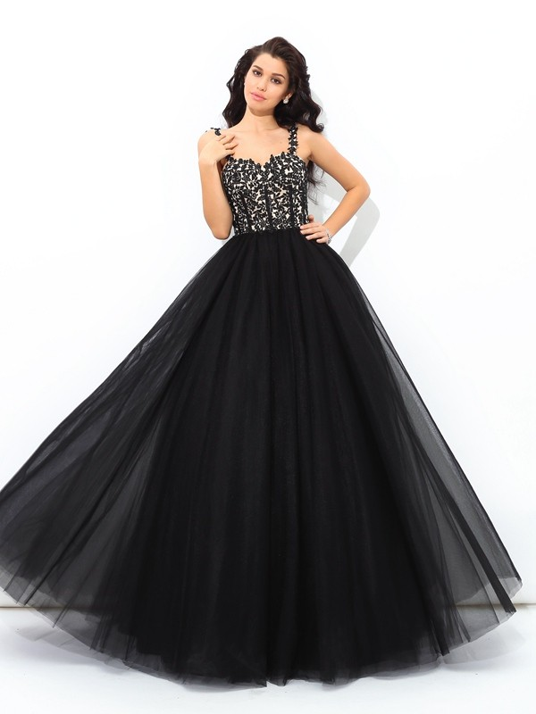 Ball Gown Straps Sleeveless Long Net Quinceanera Dresses With Applique