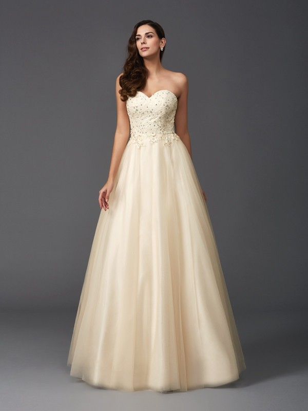 A-Line/Princess Sweetheart Sleeveless Long Net Dresses With Beading