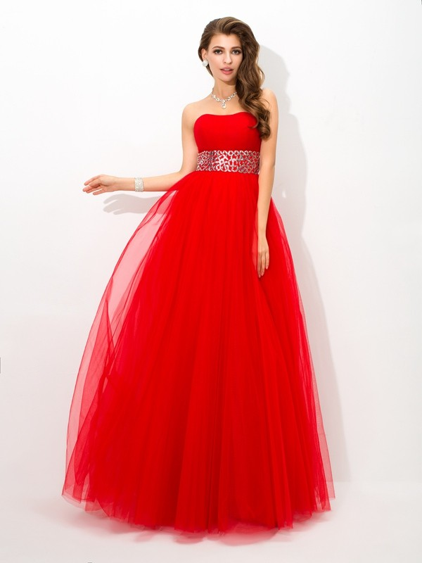 Ball Gown Strapless Sleeveless Long Net Quinceanera Dresses With Beading