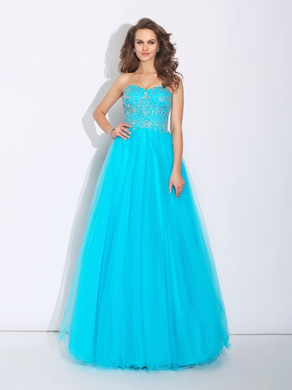 A-Line/Princess Sweetheart Sleeveless Long Satin Dresses With Rhinestone