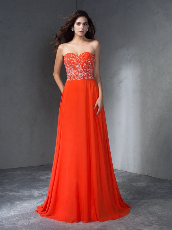 Sweetheart A-Line/Princess Sleeveless Long Chiffon Dresses With Beading