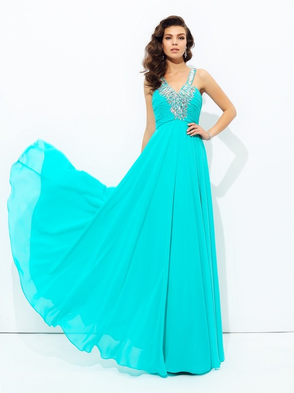 A-line/Princess V-neck Sleeveless Long Chiffon Dresses With Paillette